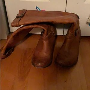 Tan Frye knee high leather booths